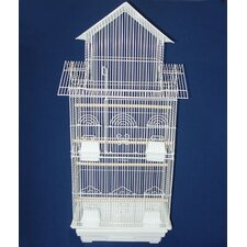 Pagoda Top Small Bird Cage in White