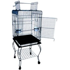Open Top Parrot Cage with Stand in Black
