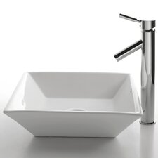 Ceramic Square Bathroom Sink with Sheven Single Lever Faucet