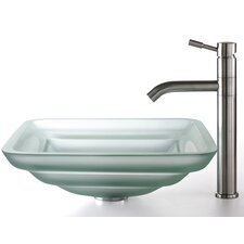 Square Frosted Oceania Glass Sink and Aldo Faucet