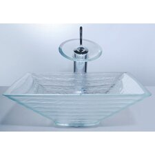 Clear Glass Alexandrite Bathroom Sink and Waterfall Faucet