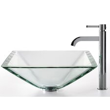 Square Aquamarine Glass Sink and Ramus Faucet