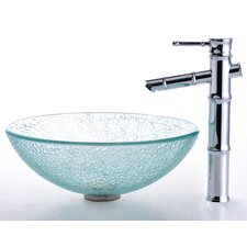 Broken Glass Vessel Sink and Bamboo Faucet