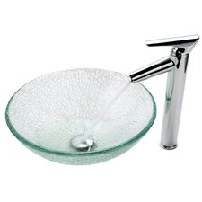 Broken Glass Vessel Sink and Decus Bathroom Faucet in Chrome