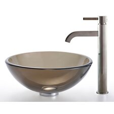 Clear Brown Glass Vessel Sink and Ramus Faucet