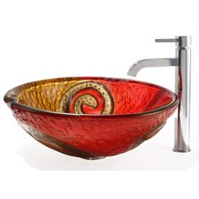 Bathroom Combos Snake Glass Vessel Bathroom Sink with Ramus Faucet