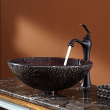 Callisto Glass Vessel Sink and Ventus Faucet