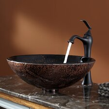 Lava Glass Vessel Sink and Ventus Faucet