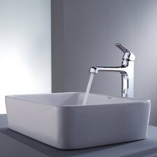 Decorum Rectangular Ceramic Bathroom Sink and Faucet