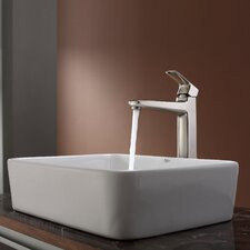 "19"" x 15"" Rectangular Sink and Virtus Faucet"