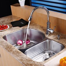 "31.5"" x 20.5"" Undermount 70/30 Double Bowl Kitchen Sink with Faucet and Soap Dispenser"