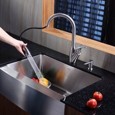 "29.75"" x 20"" x 10"" Farmhouse Kitchen Sink with Faucet and Soap Dispenser"