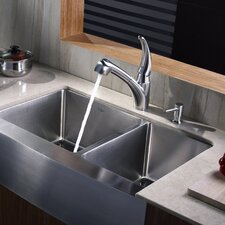 "32.9"" x 20.75"" Farmhouse Double Bowl Kitchen Sink"
