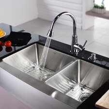 "35.9"" x 20.75"" Farmhouse Double Bowl Kitchen Sink with Faucet and Soap Dispenser"
