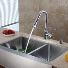 "35.9"" x 20.75"" x 10"" Farmhouse Double Bowl Kitchen Sink with Faucet and Soap Dispenser"