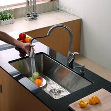 "32"" x 19"" x 10"" Undermount Kitchen Sink with Faucet and Soap Dispenser"