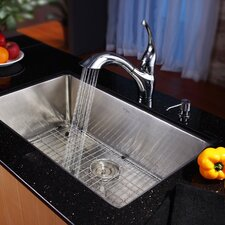 "28"" x 16"" x 10"" Undermount Single Bowl Kitchen Sink with Faucet and Soap Dispenser"