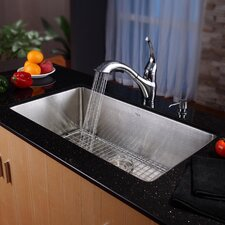 "30"" x 17"" x 10"" Undermount Single Bowl Kitchen Sink with Faucet and Soap Dispenser"