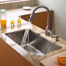 "30"" x 18"" Undermount Kitchen Sink with Faucet and Soap Dispenser"