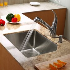 "23"" x 18.75"" Undermount Single Bowl Kitchen Sink with Kitchen Faucet and Soap Dispenser"