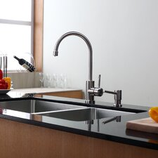 "32.75"" x 19"" x 10"" Undermount Double Bowl 70/30 Kitchen Sink with Kitchen Faucet and Soap Dispenser"