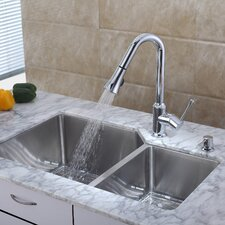 "32"" x 20"" Undermount Double Bowl Kitchen Sink with Faucet and Soap Dispenser"