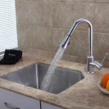 "23"" x 18.75"" Undermount Single Bowl Kitchen Sink with Faucet and Soap Dispenser"