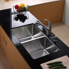 "32.75"" x 19"" Undermount Double Bowl 50/50 Kitchen Sink with Faucet"