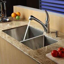 "32"" x 20"" Double Bowl 70/30 Undermount Kitchen Sink with Kitchen Faucet and Soap Dispenser"