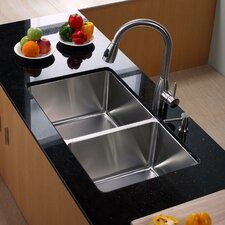 "32.75"" x 19"" Undermount Double Bowl 70/30 Kitchen Sink with Kitchen Faucet and Soap Dispenser"
