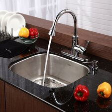 "Stainless Steel 20"" x 17.75"" Undermount Single Bowl Kitchen Sink with 14.9"" Kitchen Faucet and Soap Dispenser"
