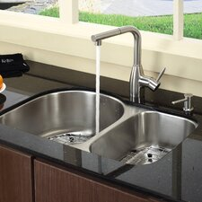 "Stainless Steel 30"" x 19.5"" Undermount Double Bowl Kitchen Sink with 13.25"" Kitchen Faucet and Soap Dispenser"