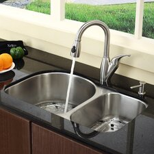 "Stainless Steel 30"" x 19.5"" Undermount Double Bowl Kitchen Sink with 14.5"" Kitchen Faucet and Soap Dispenser"