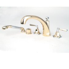 Fino Double Handle Thermostatic Roman Tub Faucet with Hand Shower