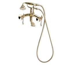Traditional Wall Mount Tub Faucet with Porcelain Lever Handles