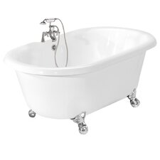 "Melinda 60"" x 32"" AcraStone Double Ended Champagne Massage Bathtub"