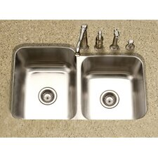 "Medallion Classic 31.5"" x 17.94 - 20.19"" Undermount Double Bowl 60/40 Kitchen Sink with Small Right Bowl"