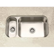 "Elite 31.5"" x 15.75 - 17.94"" Undermount Double Bowl 80/20 Kitchen Sink"