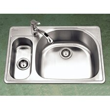 "Premiere Designer 33"" x 15.75 - 22"" Topmount Double Bowl 80/20 Kitchen Sink with Small Left Bowl"