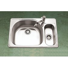 "Premiere Reflection 33""  x 15.75 - 22"" Topmount Double Bowl 80/20 Kitchen Sink"