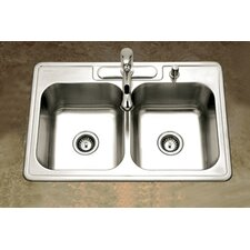 "Glowtone 33"" x 22"" Topmount Double Bowl 18 Gauge Kitchen Sink"