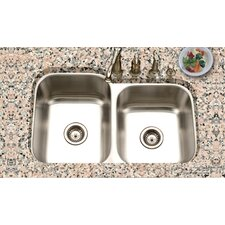 "Eston 31.25"" x 20"" Undermount 60/40 Double Bowl Kitchen Sink"