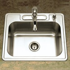 "Glowtone 25"" x 22"" Topmount Single Bowl 18 Gauge Kitchen Sink"