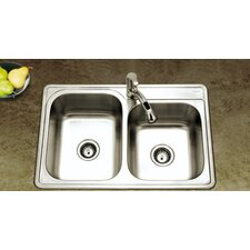 "Glowtone 33"" x 22"" Topmount 60/40 Double Bowl Kitchen Sink"