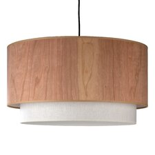 Woody Drum Pendant Lamp with Round Canopy in Brushed Nickel