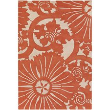 Contemporary Designer Orange Rug