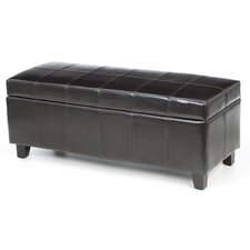 Luton Bi Cast Leather and Wood Bedroom Storage Ottoman