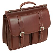 Signorini Leather Double Compartment Laptop Case in Cognac