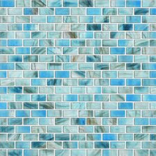 "Glass Expressions Frosted Micro 12"" x 13"" Blocks Accent Tile in Azure"