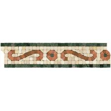 "Mosaic 12"" x 3"" Scroll Listello Tile Accent in Rust / Green"